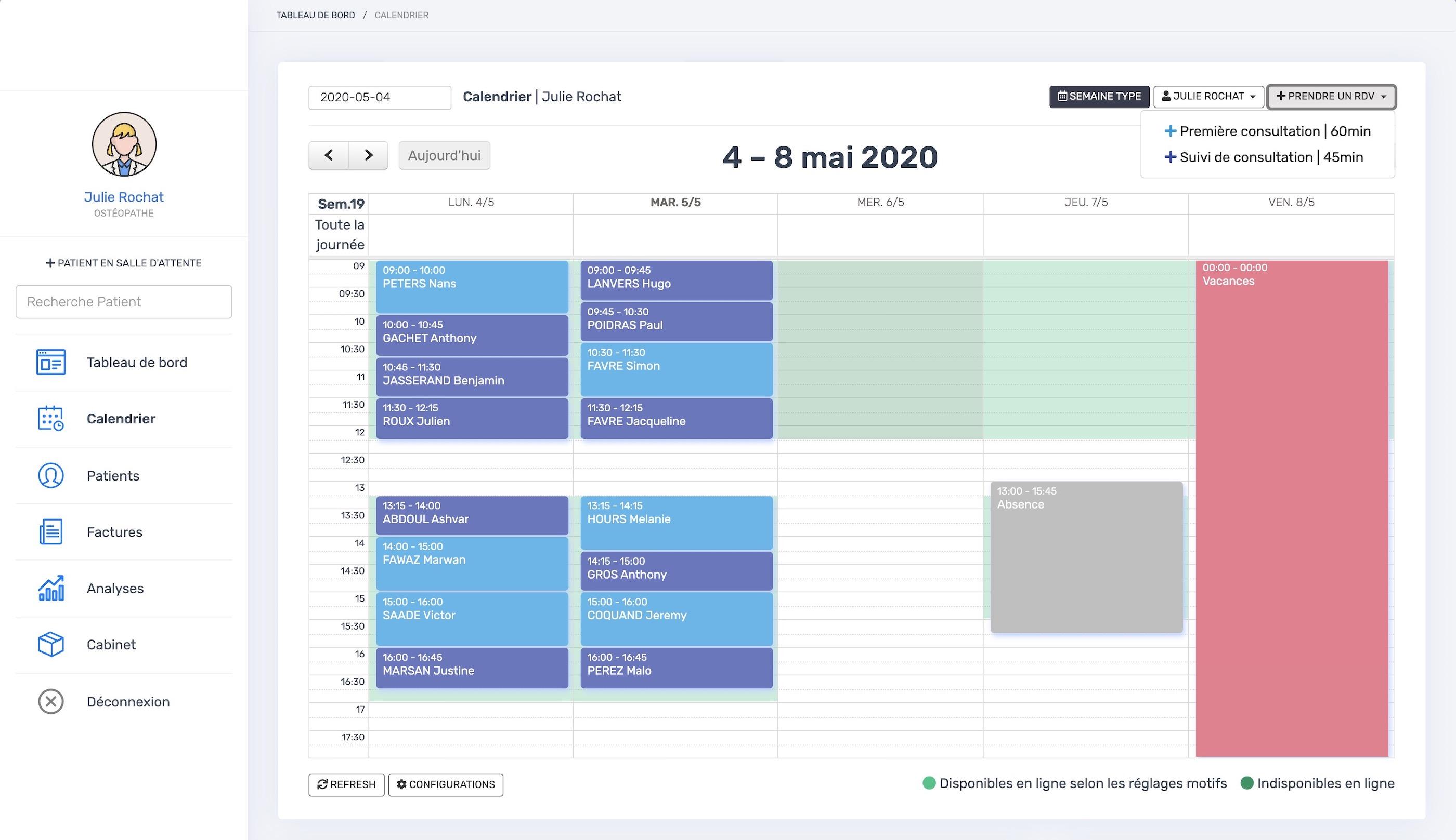 Le calendrier   PERF'ORTHO
